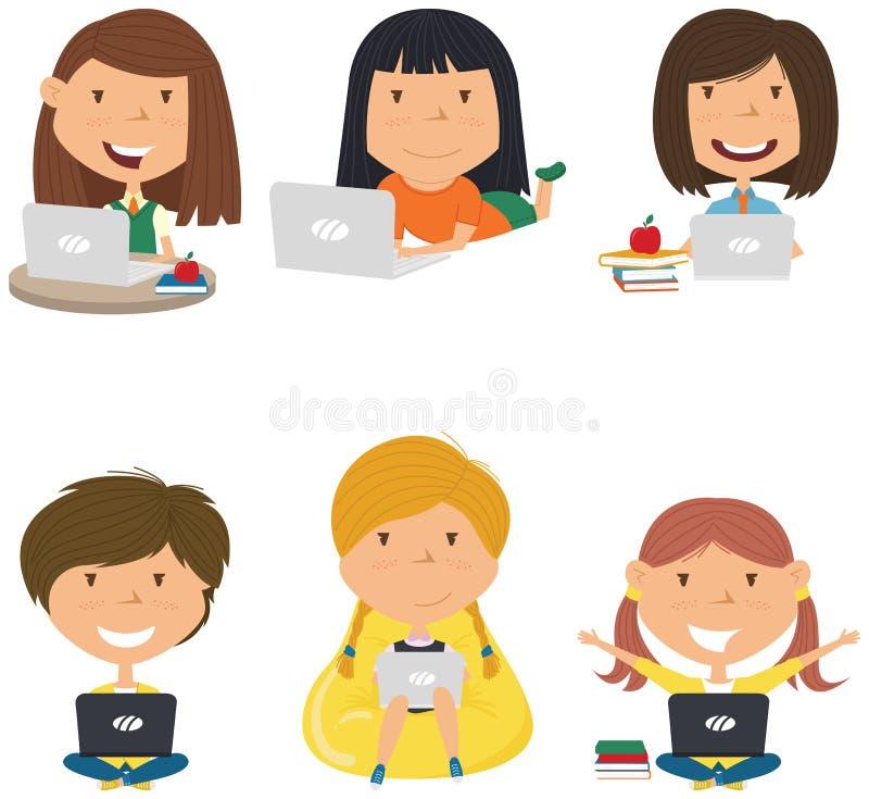 Szczęśliwe dziewczyny z laptopami royalty ilustracja