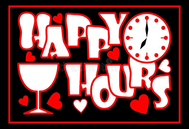 Szczęśliwe godziny wpisowe w czerwonym kolorze z zegarową twarzą, wina szkłem i sercami na czarnym tle, reklama dla restauraci, ilustracji