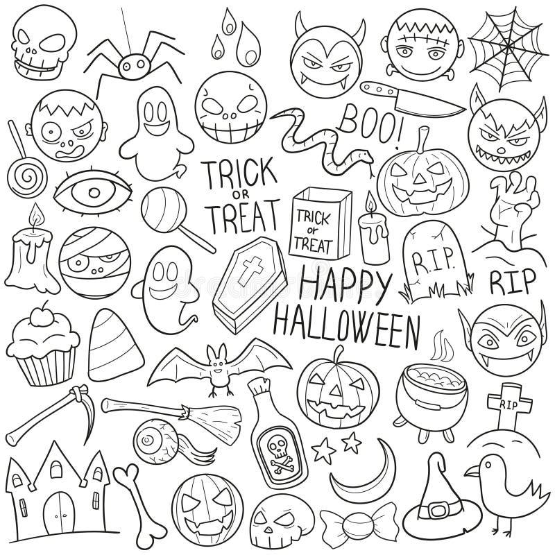 Szczęśliwe Halloweenowe Tradycyjne Doodle ikony Kreślą Ręcznie Robiony projekta wektor ilustracja wektor