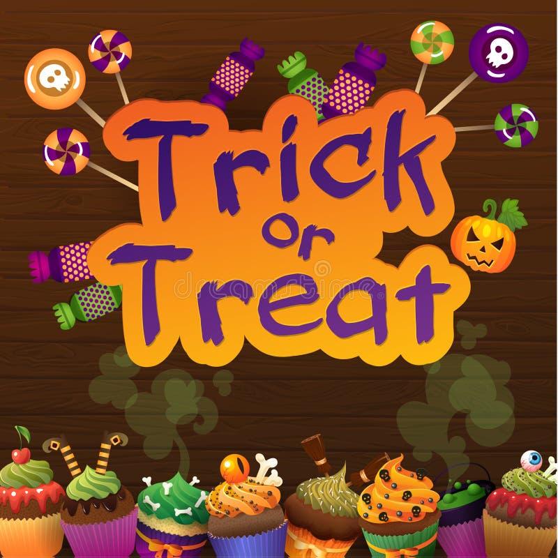 Szczęśliwe Halloweenowe Trikowe lub funda kartka z pozdrowieniami Słodkie babeczki na Starym sieci drewna tle royalty ilustracja
