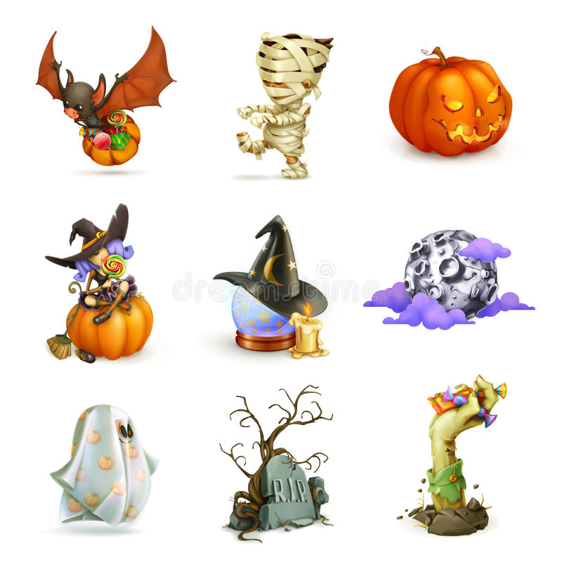 Szczęśliwe Halloweenowe wektorowe ikony ilustracja wektor