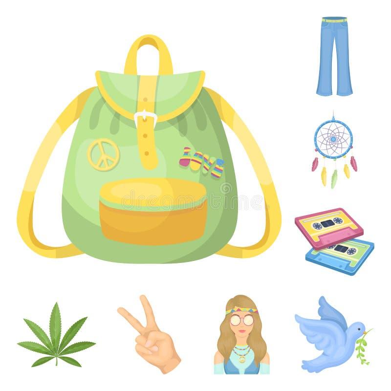 Szczęśliwe i atrybut kreskówki ikony w ustalonej kolekci dla projekta Szczęśliwa i akcesoria wektorowa symbolu zapasu sieć royalty ilustracja