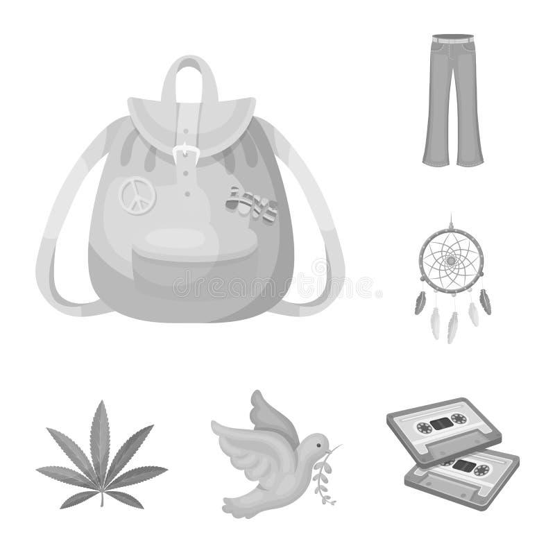 Szczęśliwe i atrybut monochromatyczne ikony w ustalonej kolekci dla projekta Szczęśliwa i akcesoria wektorowa symbolu zapasu sieć royalty ilustracja