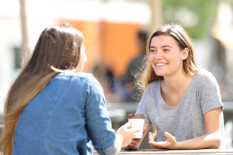 Szczęśliwe kobiety opowiada siedzieć w parku zdjęcia stock