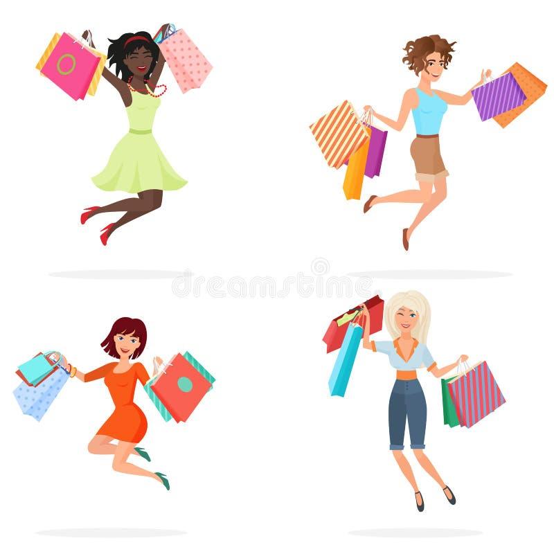 Szczęśliwe kobiety skaczą z torba na zakupy Młode dziewczyny skacze mienie pakunki z zakupami obcy kreskówki kota ucieczek ilustr ilustracji