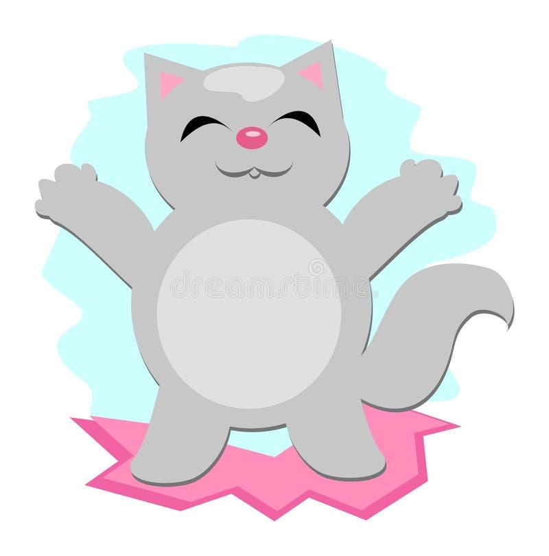 szczęśliwe kot szarość ilustracji