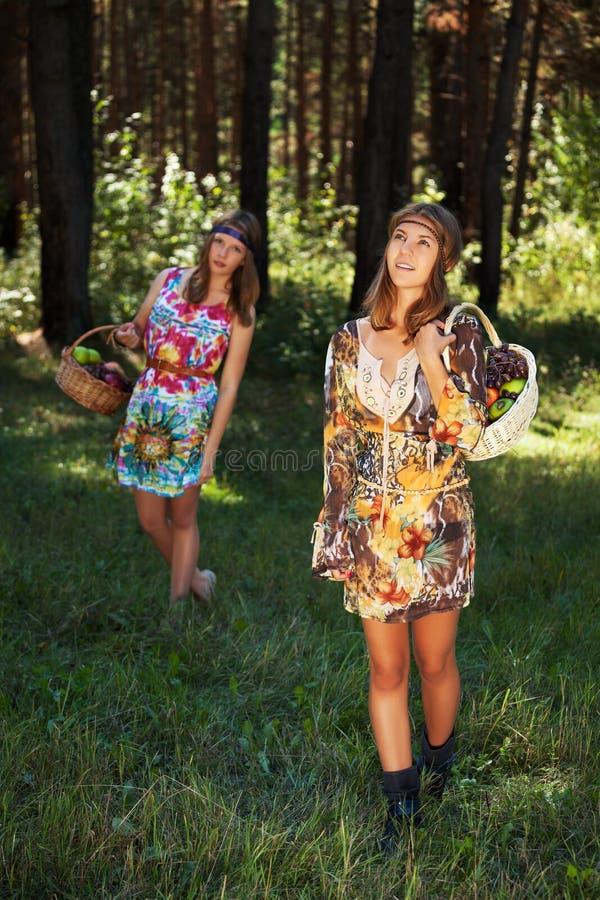 Szczęśliwe młode dziewczyny z owocowym koszem na naturze obrazy royalty free