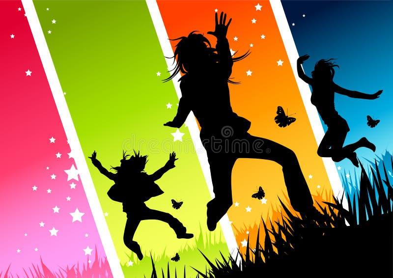 szczęśliwe młode kobiety. royalty ilustracja