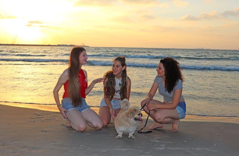 Szczęśliwe nastoletnie dziewczyny w morzu zdjęcia royalty free