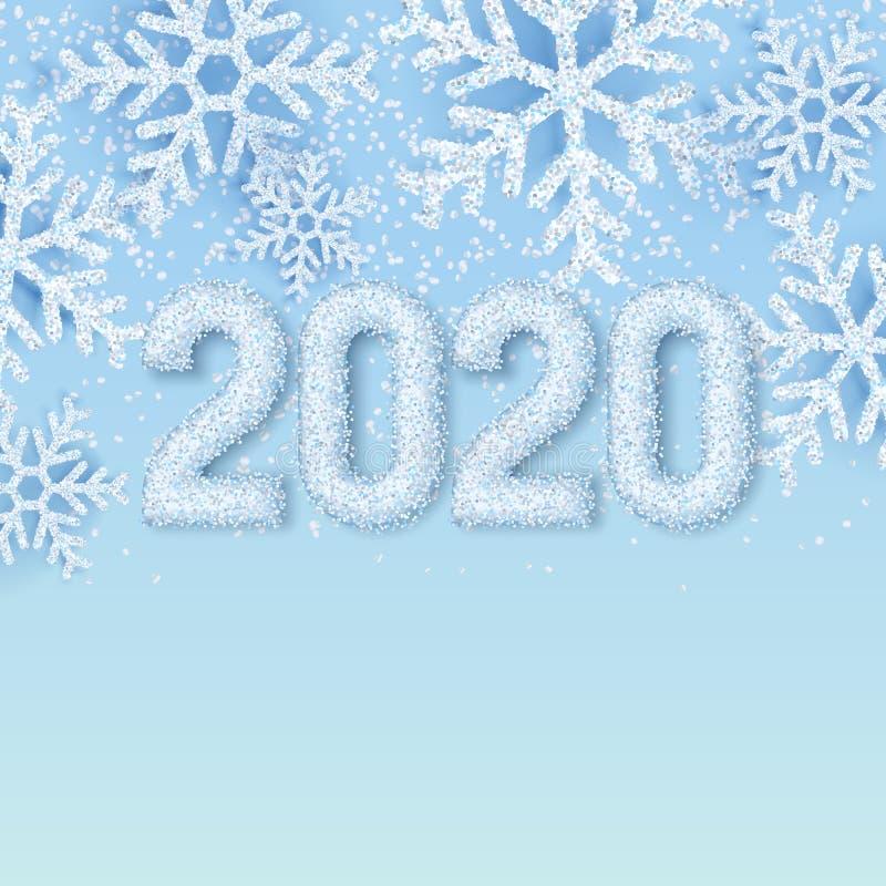Szczęśliwe nowego roku 2020 bielu śniegu liczby na zimy abstrakcjonistycznym błękitnym tle z realistycznymi płatek śniegu r?wnie? ilustracji