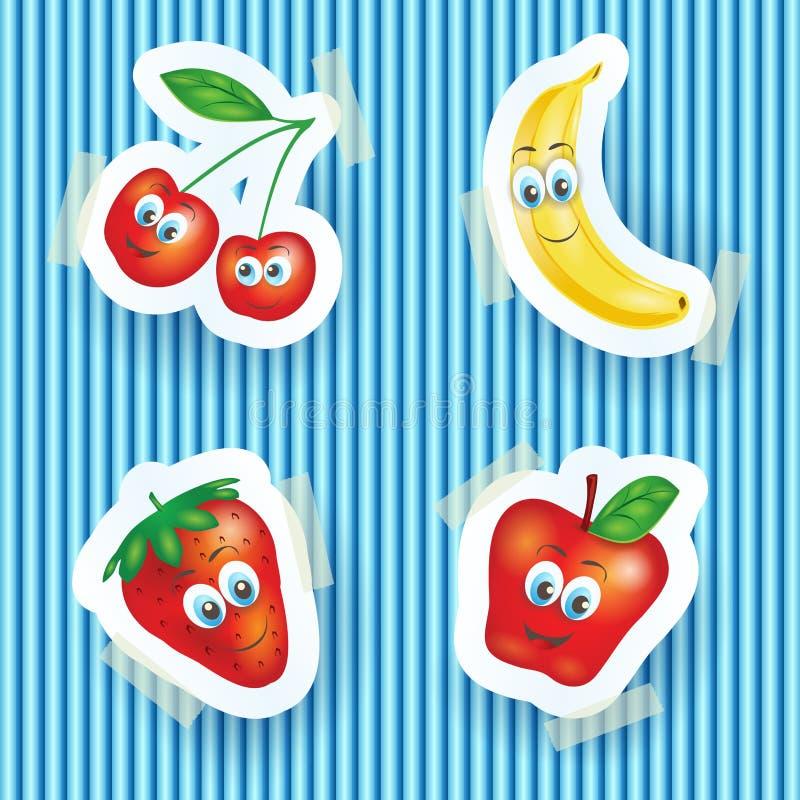 Szczęśliwe owoc z uśmiechać się twarze, kreskówki ilustracja ilustracji