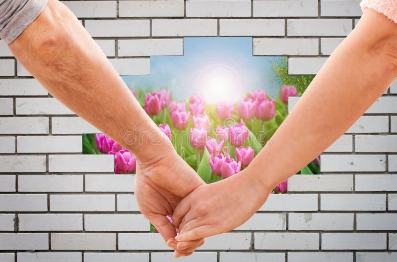 Szczęśliwe pary mienia ręki zdjęcie royalty free