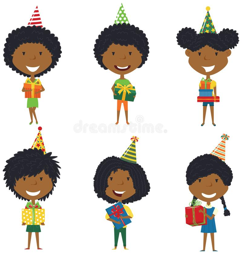 Szczęśliwe piękne afroamerykańskie dziewczyny niesie kolorowego zawijającego royalty ilustracja