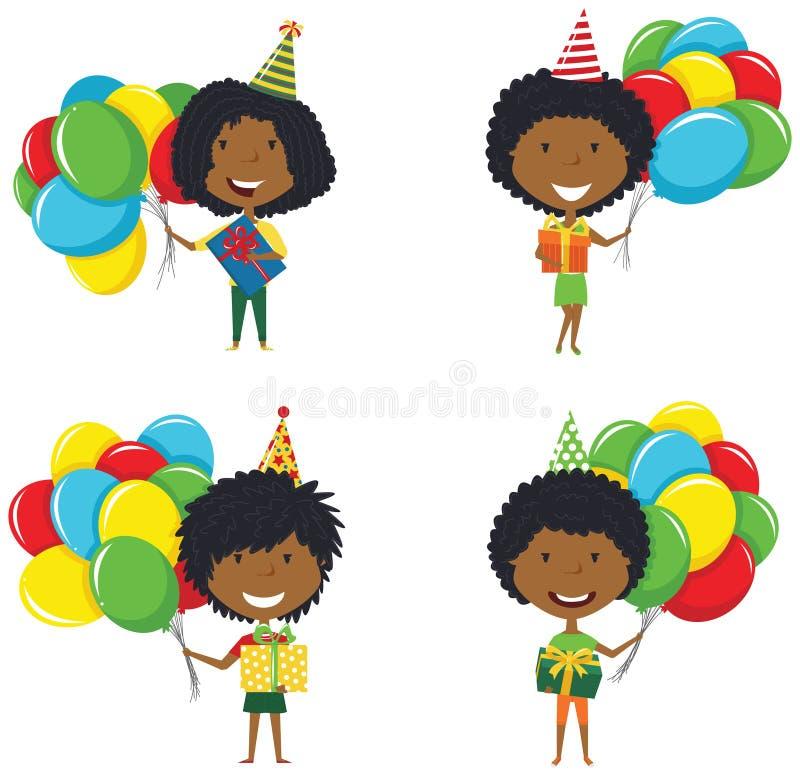 Szczęśliwe piękne afroamerykańskie dziewczyny niesie kolorowego zawijającego ilustracji