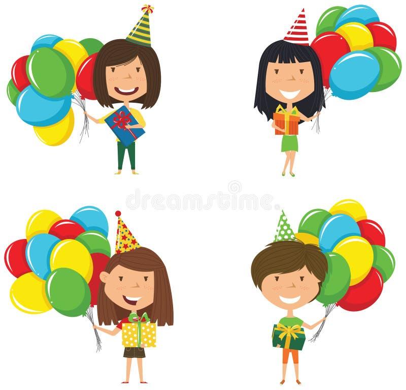 Szczęśliwe piękne dziewczyny niesie kolorowych zawijających prezentów pudełka, b i ilustracji