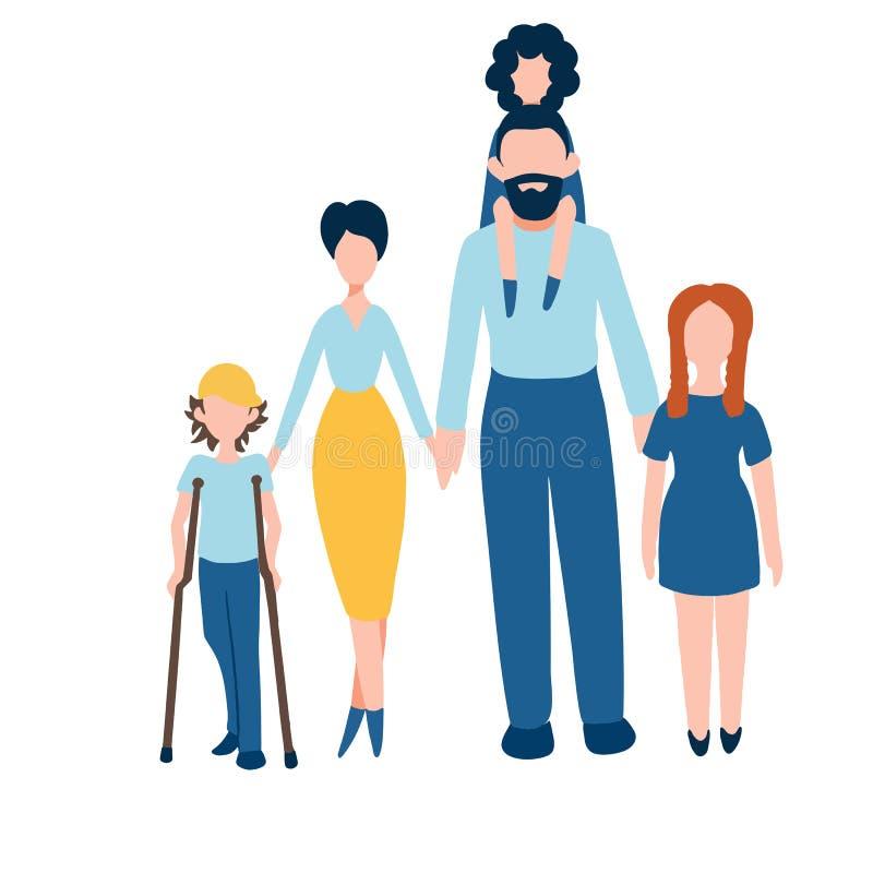 Szczęśliwe rodzinne płaskie ikony ustawiać - dobiera się z dzieciakami wliczając niepełnosprawnej chłopiec z szczudłami ilustracja wektor