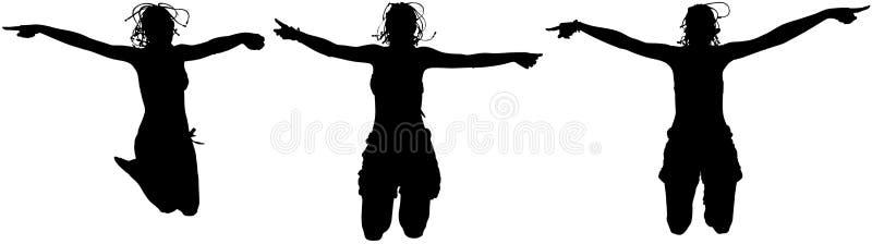 szczęśliwe skokowe kobiety ilustracji