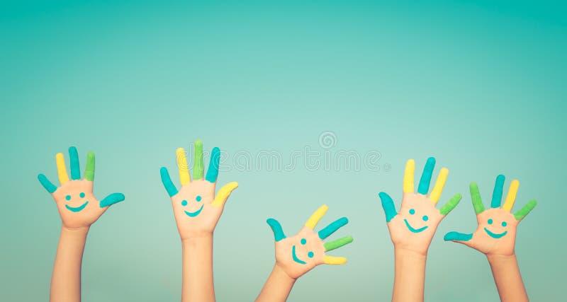 Szczęśliwe smiley ręki obrazy stock