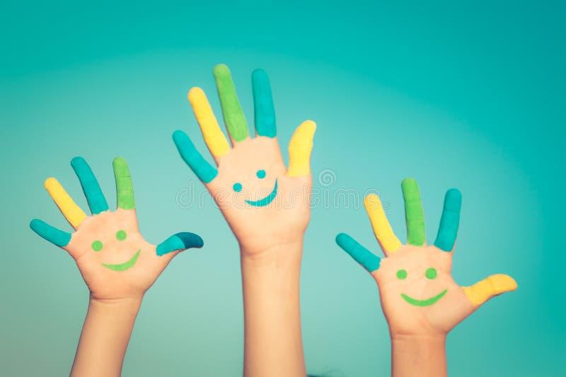 Szczęśliwe smiley ręki zdjęcia stock