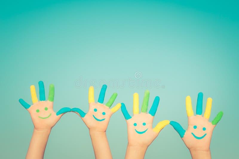 Szczęśliwe smiley ręki obraz stock