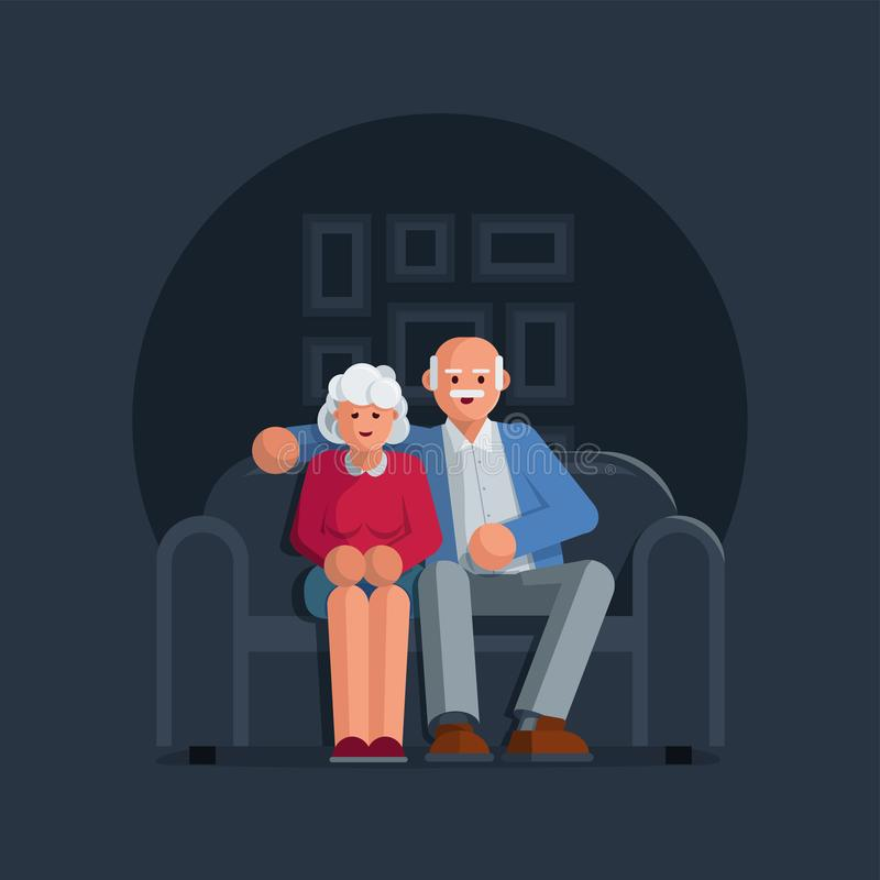 Szczęśliwe starsze osoby dobierają się obsiadanie na kanapie wpólnie ilustracji