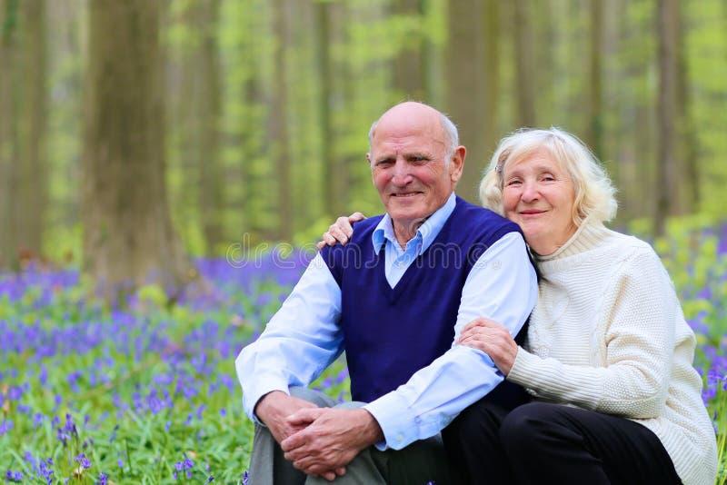 Szczęśliwe starsze osoby dobierają się relaksować w lesie obrazy stock