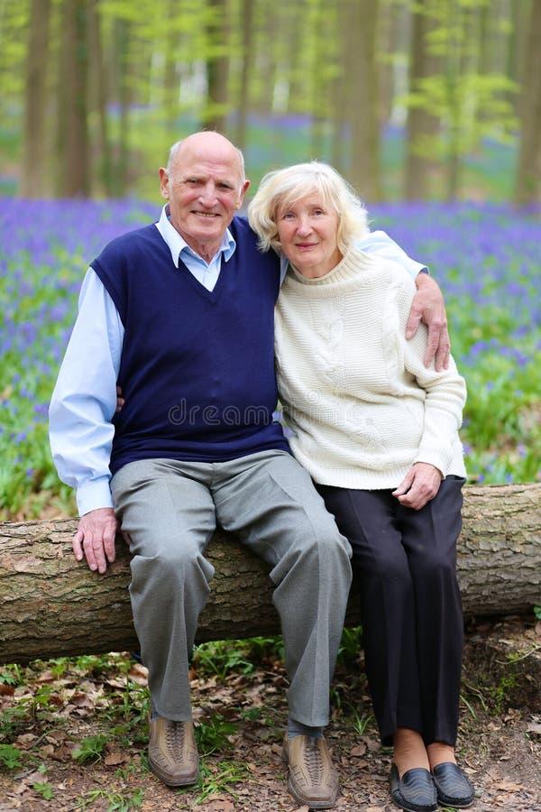 Szczęśliwe starsze osoby dobierają się relaksować w lesie obraz royalty free