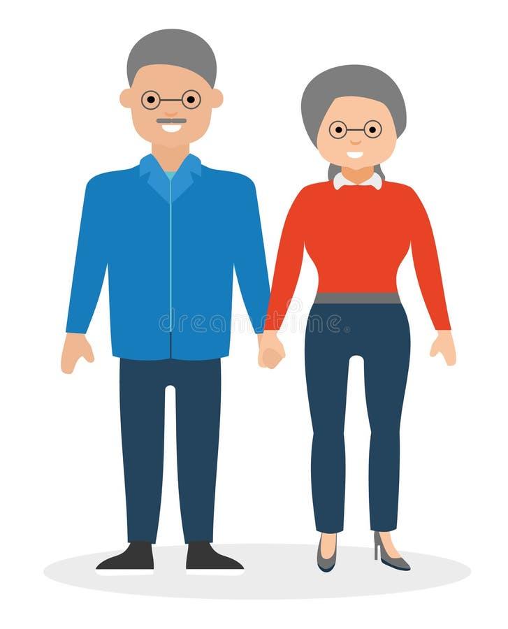 Szczęśliwe starszej osoby pary mienia ręki i ono uśmiecha się ilustracja wektor