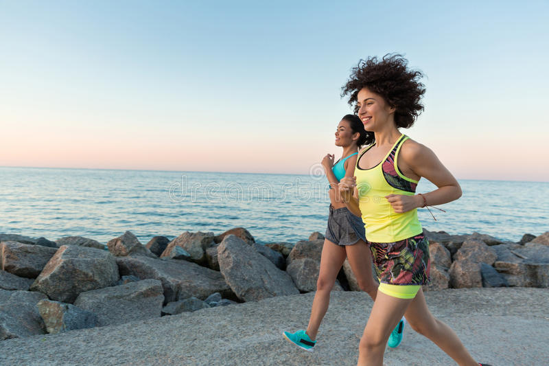 Szczęśliwe uśmiechnięte sprawności fizycznych kobiety jogging wpólnie zdjęcie royalty free
