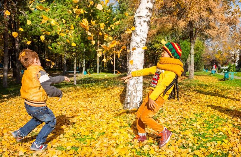 Szczęśliwe urocze dziecko chłopiec z liśćmi w jesień parku upadek Pojęcie dzieciństwo, rodzina i dzieciak, zdjęcia royalty free