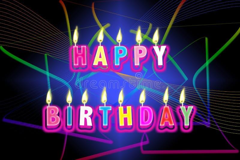 szczęśliwe urodzinowe świeczki ilustracji