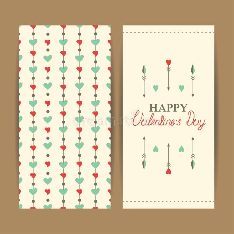 Szczęśliwe valentine dnia karty z sercami royalty ilustracja