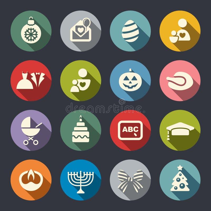 Szczęśliwe wakacyjne ikony ustawiać royalty ilustracja