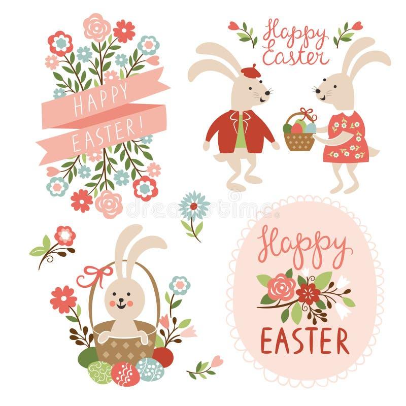 Szczęśliwe Wielkanocne karty ilustracyjne