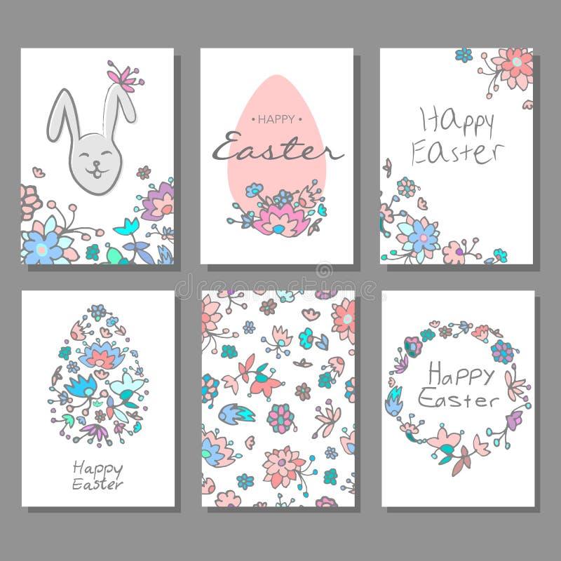 Szczęśliwe Wielkanocne karty ustawiają z kolorowym kwiecistym doodle tłem i dekoracyjnymi jajkami royalty ilustracja
