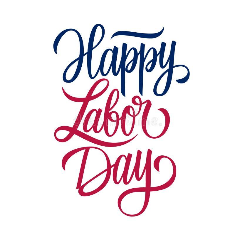 Szczęśliwego święta pracy ręcznie pisany inskrypcja Stany Zjednoczone święto pracy świętuje karcianego szablon ilustracja wektor