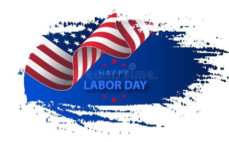 Szczęśliwego święta pracy wakacyjny sztandar z szczotkarskim uderzenia tłem w Stany Zjednoczone flaga państowowa ilustracja wektor