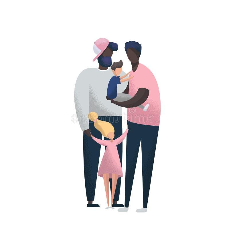 Szczęśliwego amerykanin afrykańskiego pochodzenia Homoseksualna para z dziećmi adoptowanymi obraz stock