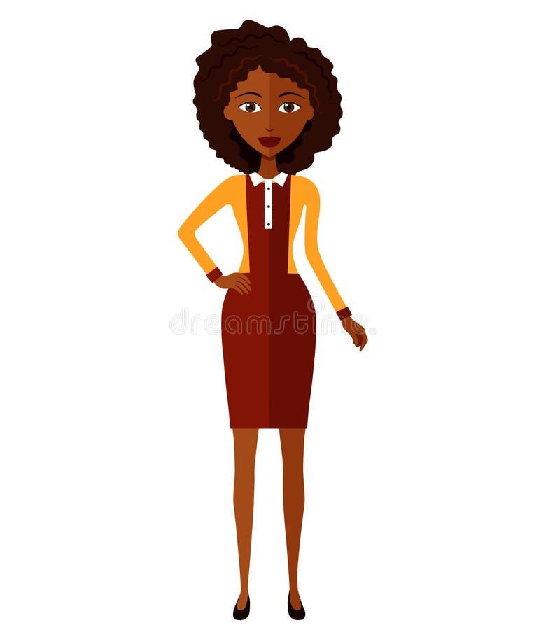 Szczęśliwego amerykanina afrykańskiego pochodzenia biznesowa kobieta Piękna murzynka z rękami krzyżował odosobnionego na białym t obrazy royalty free