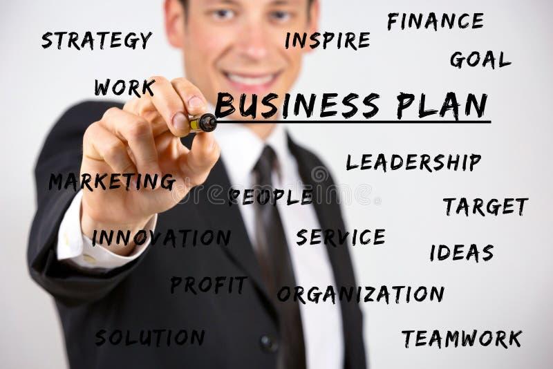 Szczęśliwego biznesmena writing biznesowi słowa kluczowe z markierem obraz royalty free