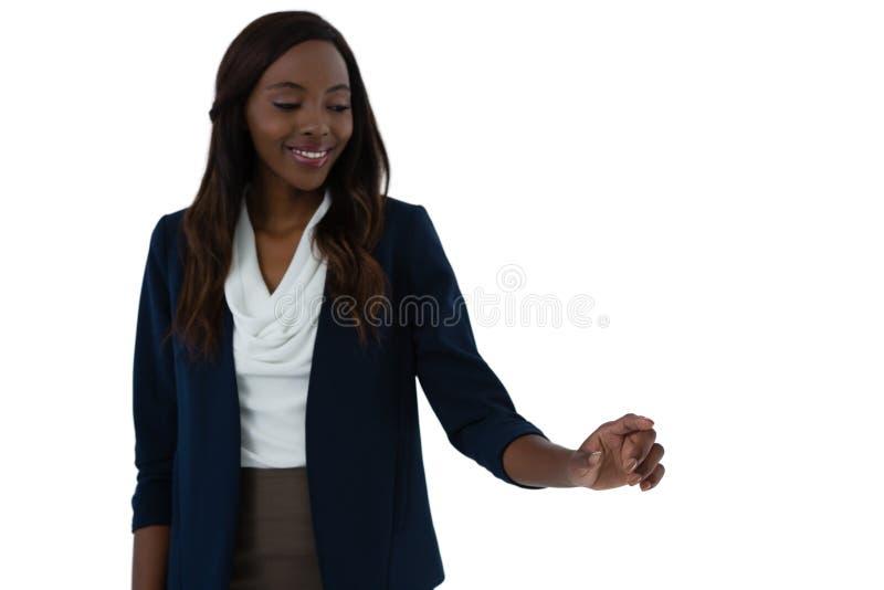 Szczęśliwego bizneswomanu interfejsu wzruszający ekran obraz stock