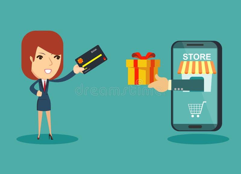 Szczęśliwego bizneswomanu use kredytowa karta robić zakupy online i otrzymywa prezenta pudełko od mądrze telefonu karcianego hand ilustracji