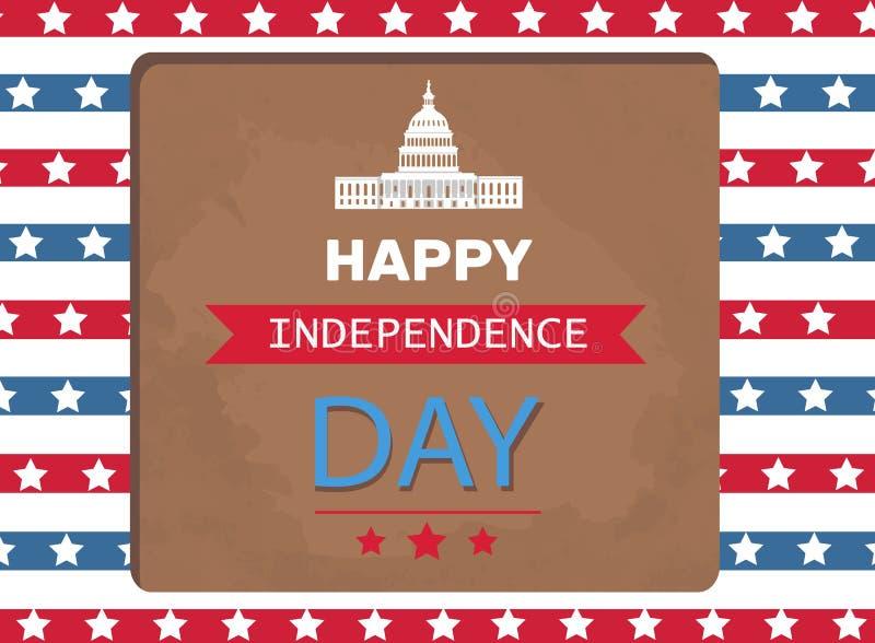 Szczęśliwego dnia niepodległości Plakatowy Waszyngtoński Capitol royalty ilustracja