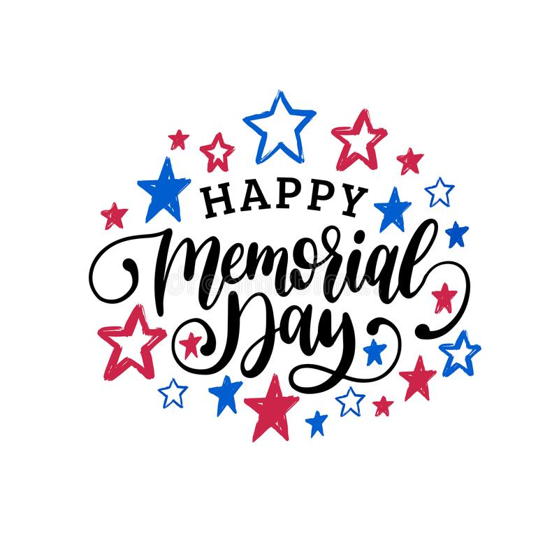 Szczęśliwego dnia pamięci ręcznie pisany zwrot w wektorze Krajowa amerykańska wakacyjna ilustracja z kolor gwiazdami royalty ilustracja
