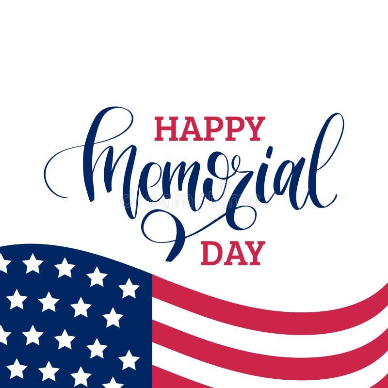 Szczęśliwego dnia pamięci ręcznie pisany zwrot w wektorze Krajowa amerykańska wakacyjna ilustracja z usa flaga świąteczny plakat royalty ilustracja