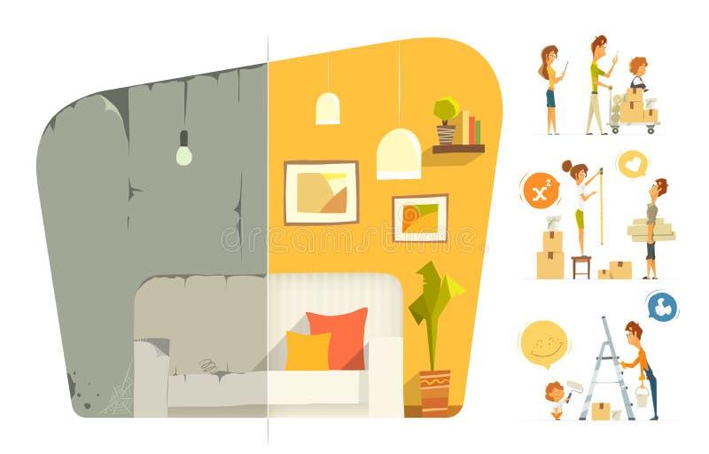 Szczęśliwego domu rodzinnego domu mieszkania pokoju płaska naprawa Przedtem i a ilustracja wektor