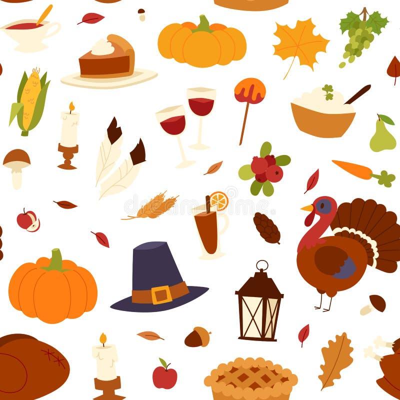 Szczęśliwego dziękczynienie dnia bezszwowy deseniowy wektor royalty ilustracja