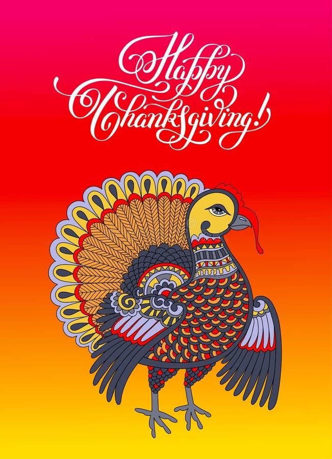 Szczęśliwego dziękczynienie dnia dekoracyjny kartka z pozdrowieniami z indykiem i royalty ilustracja