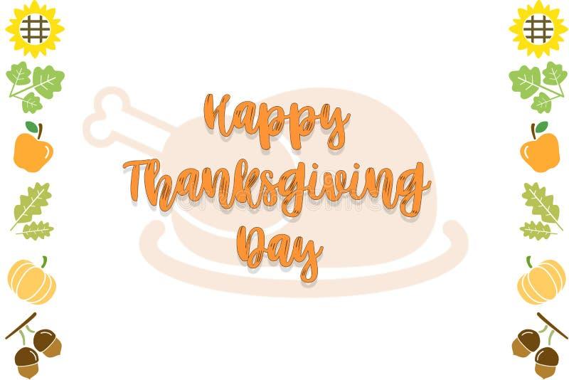 Szczęśliwego dziękczynienie dnia teksta karty Czarny I Biały tło z pumpkinHappy dziękczynienie dnia teksta karty tłem ilustracja wektor