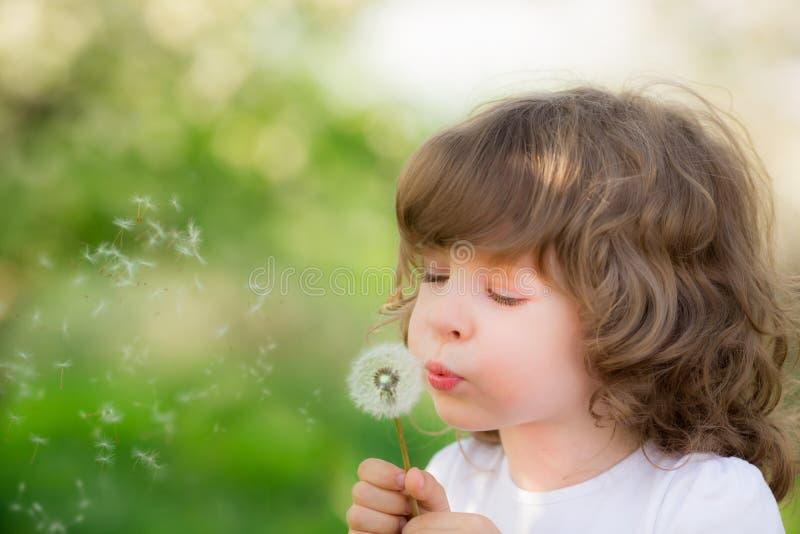 Szczęśliwego dziecka podmuchowy dandelion zdjęcie royalty free